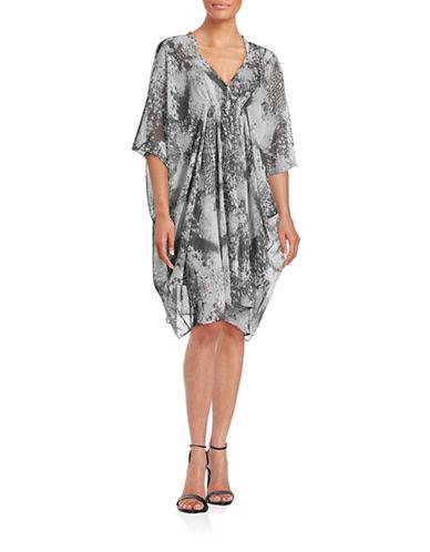 H Halston Printed Ruched Flyaway Dress-GREY PRINT-Medium
