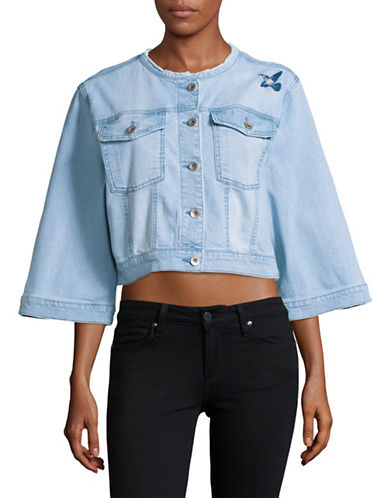 Highline Collective Cropped Embroidered Denim Jacket-BLUE-X-Large