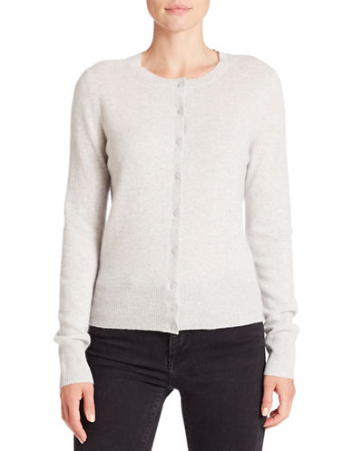Lord & Taylor Cashmere Button Cardigan-LIGHT GREY-X-Large 88325942_LIGHT GREY_X-Large