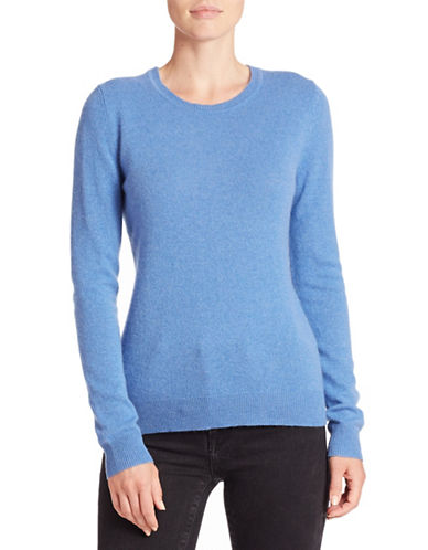 Lord & Taylor Basic Crew Neck Cashmere Sweater-ARCTIC HEATHER-Medium plus size,  plus size fashion plus size appare