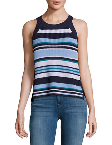 Highline Collective Striped Sleeveless Crop Sweater-PINK MULTI-Large 88967755_PINK MULTI_Large