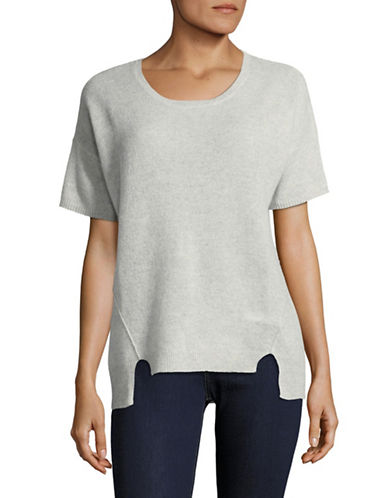 Lord & Taylor Boxy Cashmere Tee-GREY HEATHER-X-Small