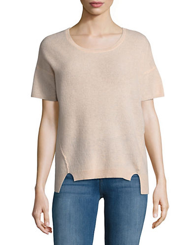 Lord & Taylor Boxy Cashmere Tee-PEACH HEATHER-Large
