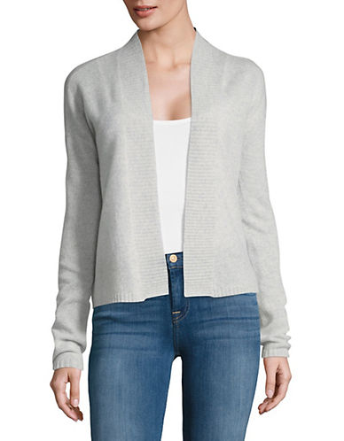 Lord & Taylor Long Sleeve Featherweight Cashmere Cardigan-GREY HEATHER-X-Large