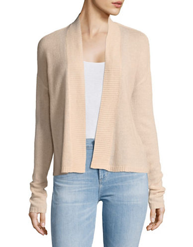 Lord & Taylor Long Sleeve Featherweight Cashmere Cardigan-PEACH HEATHER-X-Large