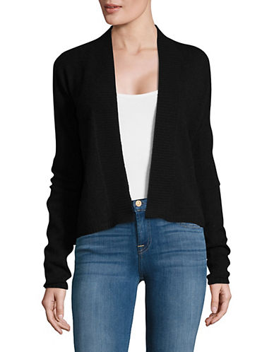 Lord & Taylor Long Sleeve Featherweight Cashmere Cardigan-EBONY-Medium