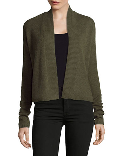 Lord & Taylor Long Sleeve Featherweight Cashmere Cardigan-OLIVE HEATHER-Small