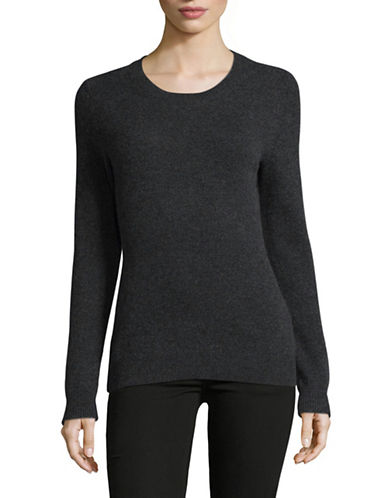 Lord & Taylor Crew Neck Cashmere Sweater-CHARCOAL-X-Small