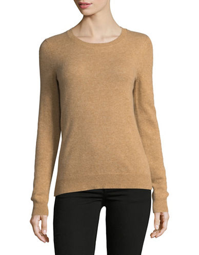 Lord & Taylor Crew Neck Cashmere Sweater-CLASSIC CAMEL-Medium