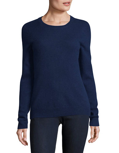Lord & Taylor Crew Neck Cashmere Sweater-NAVY-Large