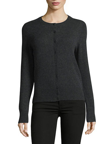 Lord & Taylor Cashmere Cardigan-CHARCOAL-X-Small