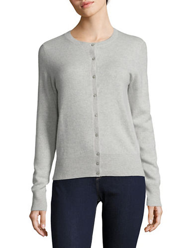 Lord & Taylor Cashmere Cardigan-LIGHT GREY-X-Small