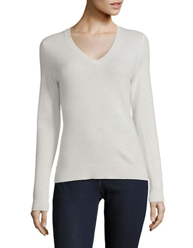 Lord & Taylor Cashmere V-Neck Sweater-IVORY-Medium