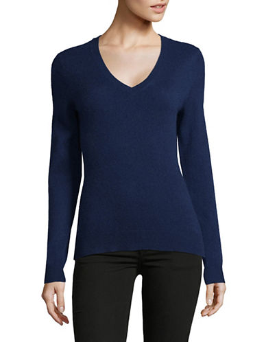Lord & Taylor Cashmere V-Neck Sweater-NAVY-Large