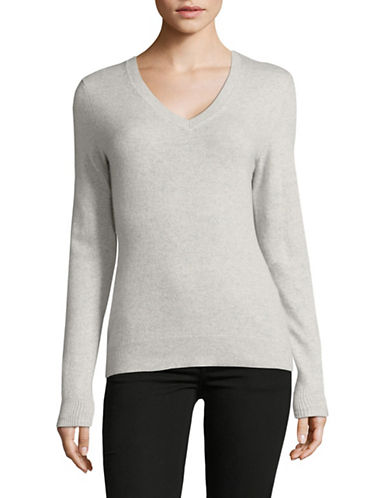 Lord & Taylor Cashmere V-Neck Sweater-LIGHT GREY-Medium