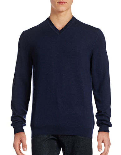 Black Brown 1826 Merino Wool V-Neck Sweater-DEEP INDIGO-XXX-Large