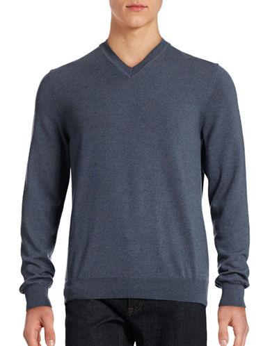 Black Brown 1826 Merino Wool V-Neck Sweater-FLINT BLUE-XXX-Large