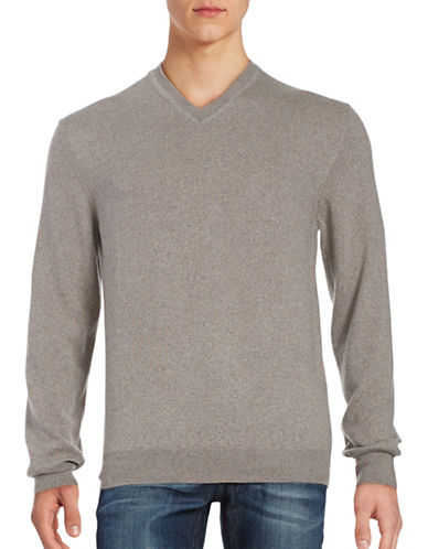 Black Brown 1826 Merino Wool V-Neck Sweater-COFFEE-XXX-Large