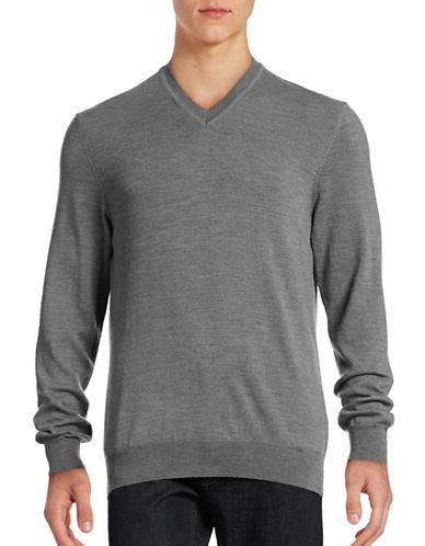 Black Brown 1826 Merino Wool V-Neck Sweater-IRON GREY-XXX-Large