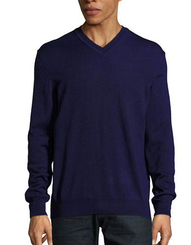 Black Brown 1826 Merino Wool V-Neck Sweater-PERIWINKL-XXX-Large