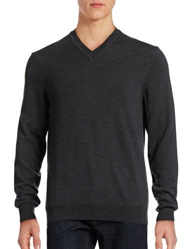 Black Brown 1826 Merino Wool V-Neck Sweater-WINTER SLATE-XXX-Large