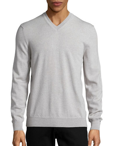 Black Brown 1826 Merino Wool V-Neck Sweater-BLEACHED GRANITE-XXX-Large