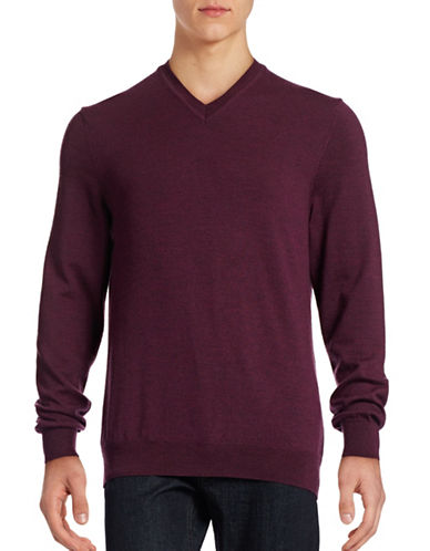 Black Brown 1826 Merino Wool V-Neck Sweater-PLUM HEATHER-X-Large