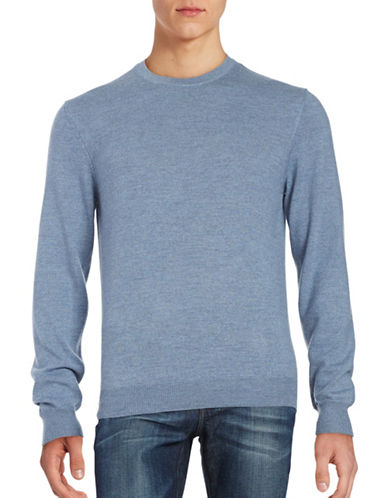 Black Brown 1826 Wool Crew Neck Sweater-PALE SLATE BLUE-XXX-Large