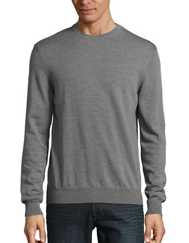Black Brown 1826 Wool Crew Neck Sweater-IRON GREY-XXX-Large