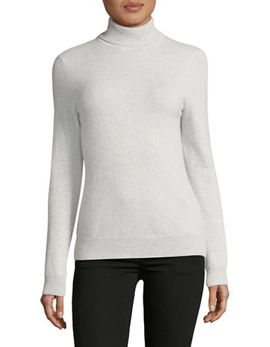 Lord & Taylor Cashmere Turtleneck Sweater-LIGHT GREY-Small