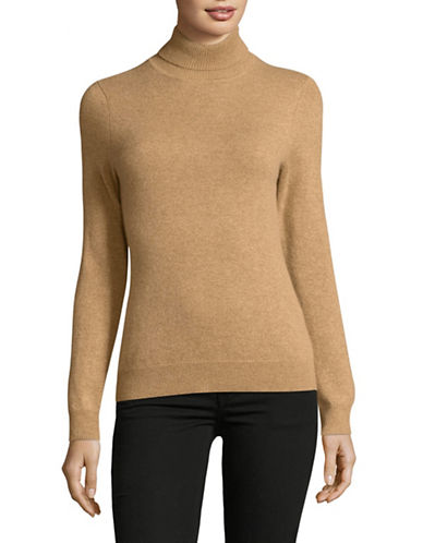Lord & Taylor Cashmere Turtleneck Sweater-CAMEL HEATHER-Medium