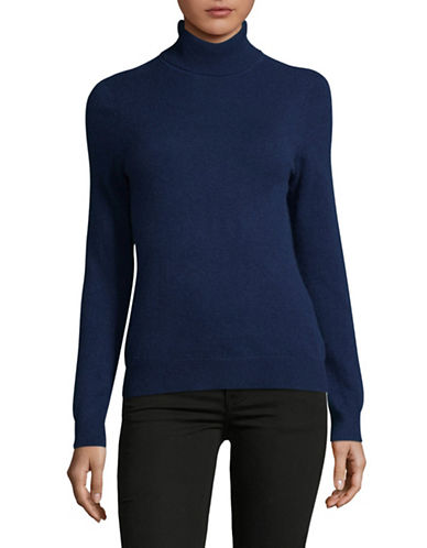 Lord & Taylor Cashmere Turtleneck Sweater-NAVY-Small