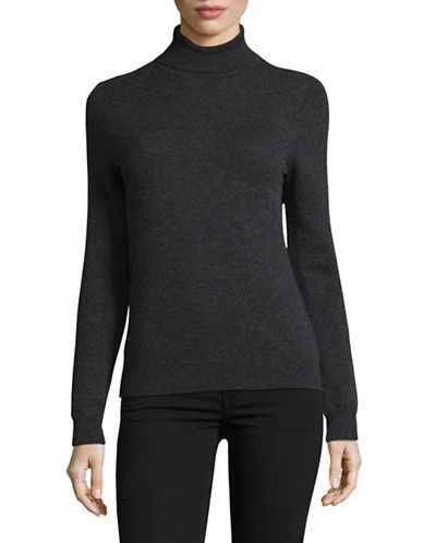 Lord & Taylor Cashmere Turtleneck Sweater-CHARCOAL-Small
