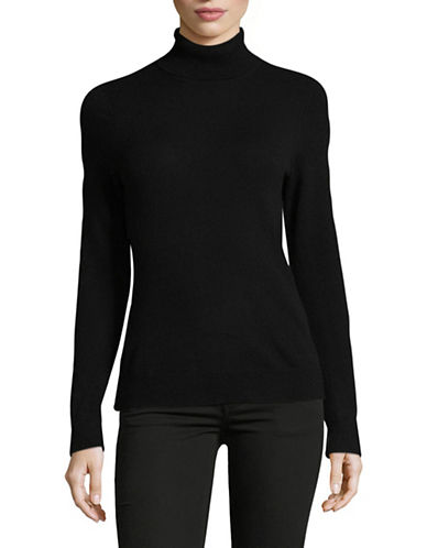 Lord & Taylor Cashmere Turtleneck Sweater-EBONY-Large
