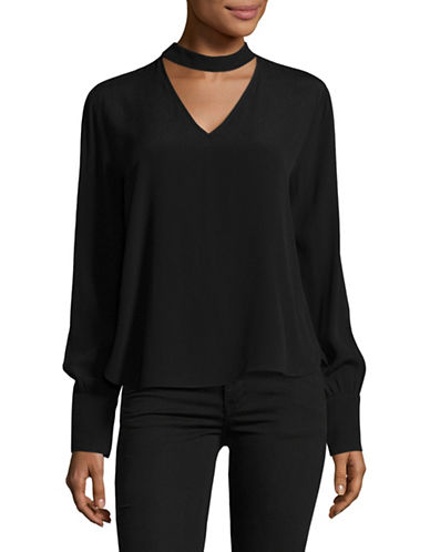 Lord & Taylor Choker Blouse-BLACK-X-Large