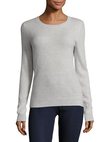 Lord & Taylor Petite Cashmere Crew Neck Sweater-LIGHT GREY-Petite Large