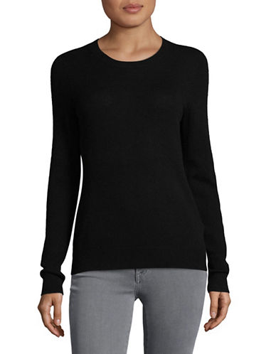Lord & Taylor Petite Cashmere Crew Neck Sweater-EBONY-Petite X-Small
