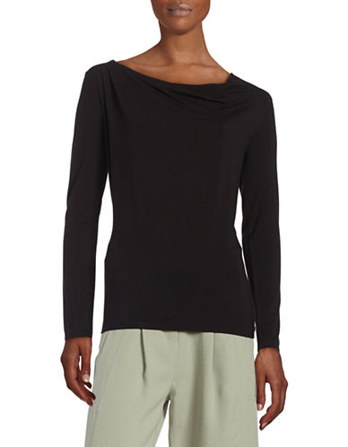 Lord & Taylor Iconic Fit Cowl Neck Top-BLACK-Medium 88391202_BLACK_Medium