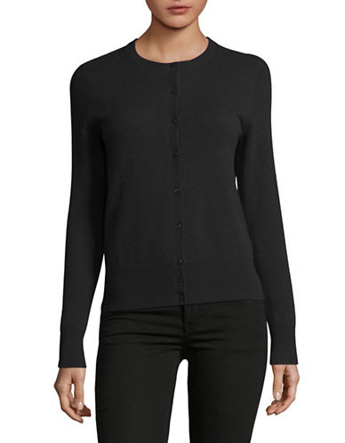 Lord & Taylor Petite Cashmere Cardigan-CHARCOAL HEATHER-Petite Small