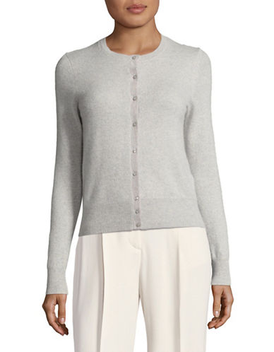 Lord & Taylor Petite Cashmere Cardigan-LIGHT GREY-Petite Medium