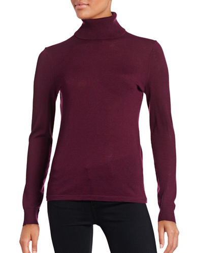Lord & Taylor Turtleneck Sweater-RASPBERRY WINE-Large