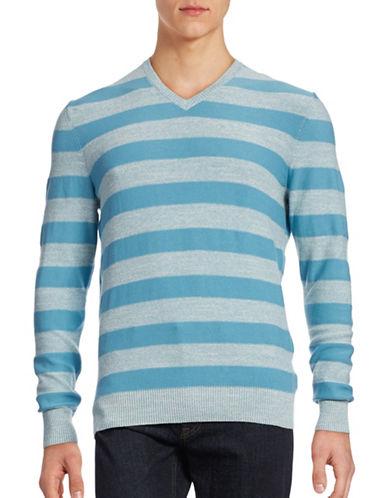 Hudson North Striped Slub V-Neck Sweatshirt-STONE BLUE-X-Large