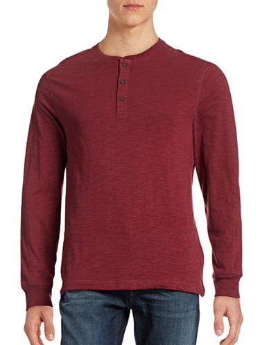 Hudson North Three-Button Henley Top-OXBLOOD-X-Large