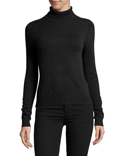 Lord & Taylor Petite Heathered Cashmere Turtleneck-EBONY-Petite X-Small
