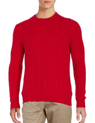 Black Brown 1826 Cashmere Cable-Knit Sweater-BRIGHT RED-XXX-Large 88620787_BRIGHT RED_XXX-Large