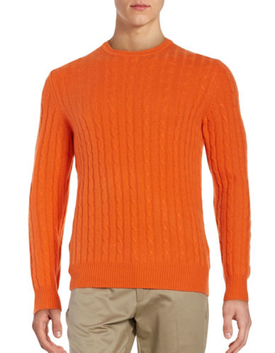 Black Brown 1826 Cashmere Cable-Knit Sweater-TANGERINE-X-Large 88620791_TANGERINE_X-Large