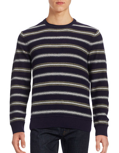 Black Brown 1826 Mixed-Stripe Lambswool-Blend Sweater-DARK NAVY-XXX-Large