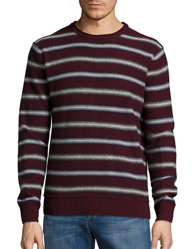 Black Brown 1826 Mixed-Stripe Lambswool-Blend Sweater-BURGUNDY-XXX-Large