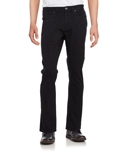 Black Brown 1826 Bedford Textured Straight-Leg Pants-BLACK-36X34
