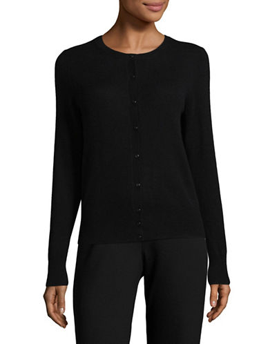 Lord & Taylor Plus Cashmere Cardigan-EBONY-3X